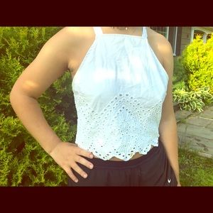 Abercrombie and Fitch white Eyelet Tank